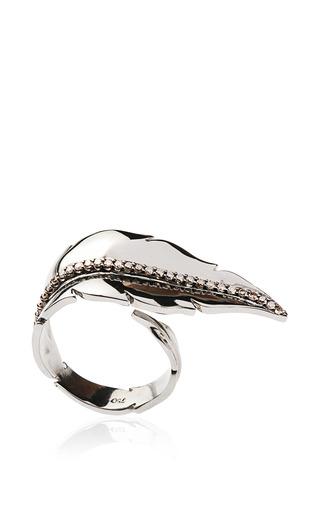 Medium niko koulis multi black rhodium and brown diamond leaf ring