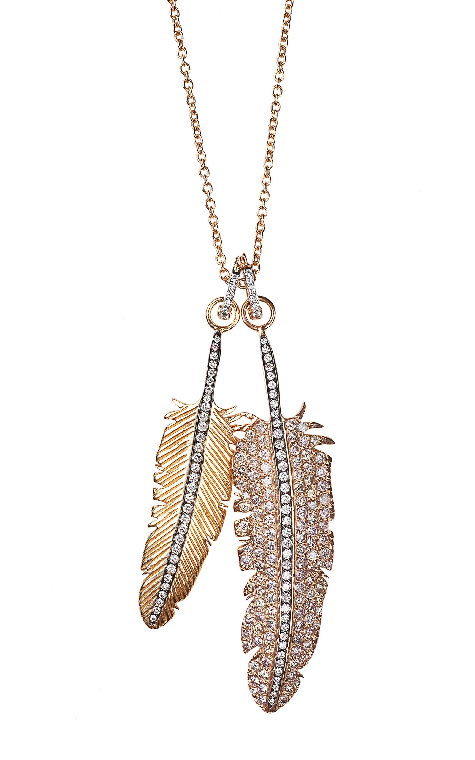Double Gold And Diamond Feather Necklace by Niko Koulis Moda Operandi