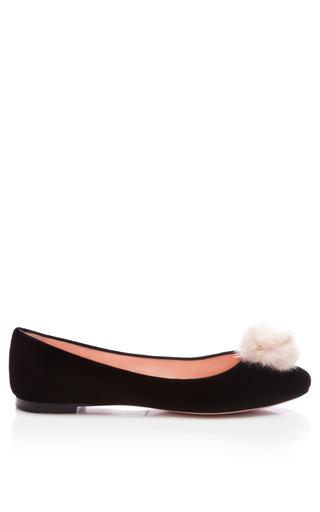 Velvet Flats With Mink Pom Pom by NINA RICCI Now Available on Moda Operandi