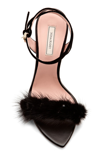 Embellished Mink & Velvet Sandals by NINA RICCI Now Available on Moda Operandi