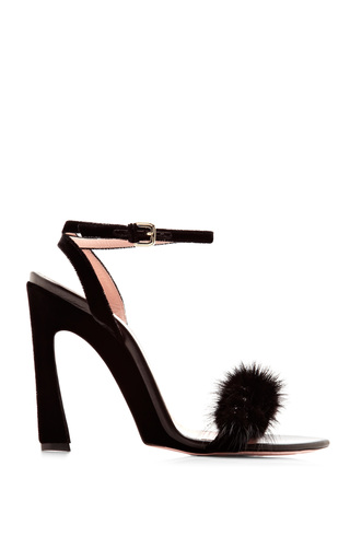 Medium nina ricci black embellished mink velvet sandals