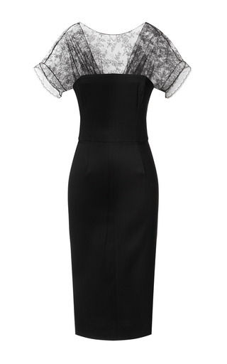 Medium nina ricci black fitted pencil dress with lace neckline