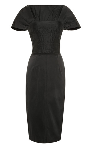 Medium nina ricci black bateau neck duchesse satin dress