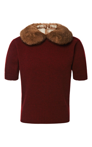 Medium marc jacobs burgundy cashmere crew neck sweater with detachable fur collar