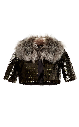 Medium marc jacobs green owl sequin embellished bed jacket with fox fur collar