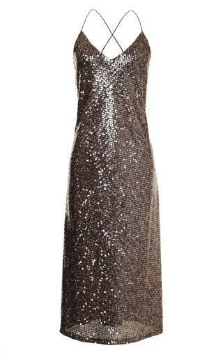 Medium marc jacobs gold mirror sequins tea length tank dress