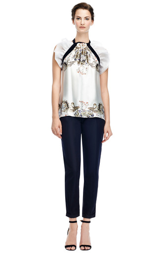 Printed Silk Chiffon Top With Ruffle Detail by PRABAL GURUNG Now Available on Moda Operandi