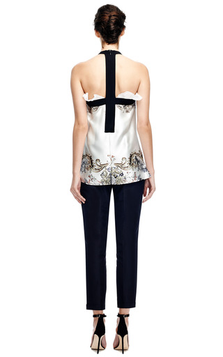 Printed Silk Chiffon Top With Ruffle Detail by PRABAL GURUNG Now Available on Moda Operandi
