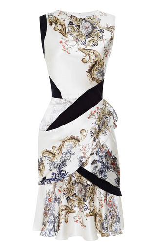 Medium prabal gurung print printed silk satin draped dress
