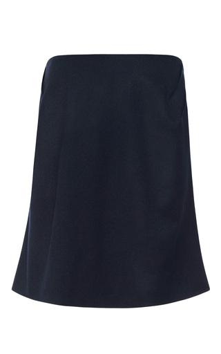 Medium prabal gurung blue wool blend flared skirt