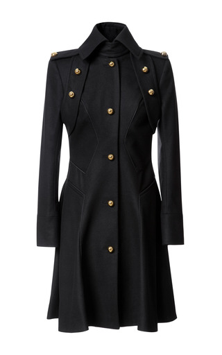 Medium prabal gurung black wool blend military style coat