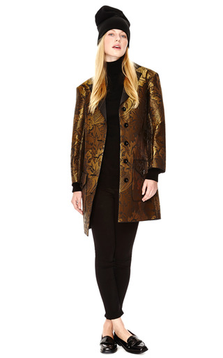 Bonded Neoprene Jacquard Coat With Contrast Collar by OSTWALD HELGASON Now Available on Moda Operandi