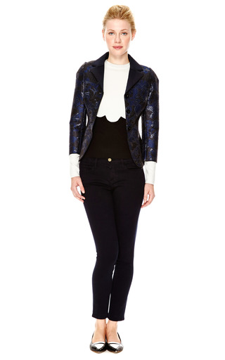 Bonded Neoprene Jacquard Single Breasted Blazer by OSTWALD HELGASON Now Available on Moda Operandi
