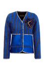 Bonded Neoprene Striped Woven Cardigan by OSTWALD HELGASON Now Available on Moda Operandi