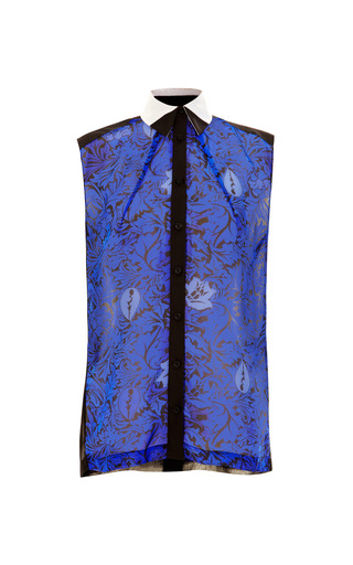 Sheer Printed Silk Blouse by OSTWALD HELGASON Now Available on Moda Operandi