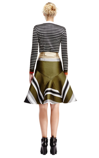 Double Face Jacquard High Waisted Flare Skirt by OSTWALD HELGASON Now Available on Moda Operandi