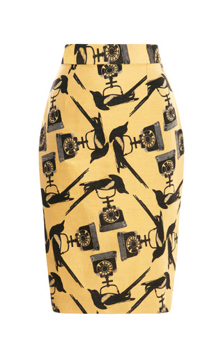Medium mother of pearl yellow cotton blend jacquard pencil skirt