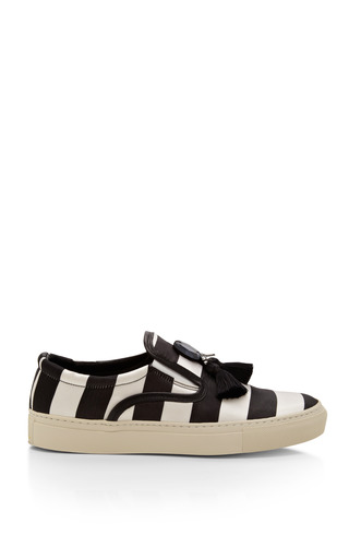 Medium mother of pearl black achilles satin striped sneakers with tassels