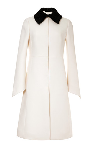 Medium valentino white wool blend astrakhan collared coat