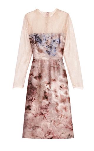 Medium valentino print floral print silk mikado lace sleeved dress