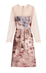Floral Print Silk Mikado Lace Sleeved Dress by VALENTINO Now Available on Moda Operandi