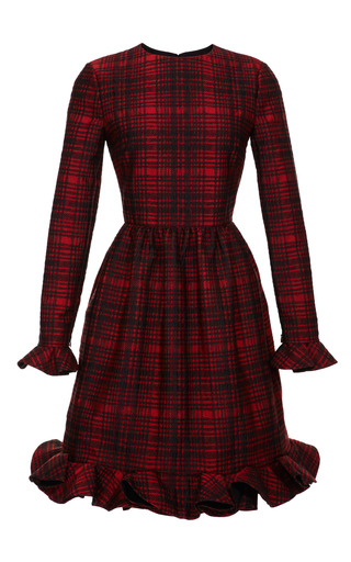 Medium valentino red plaid ruffle detail dress