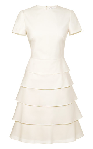Medium valentino white tiered cotton and silk blend dress