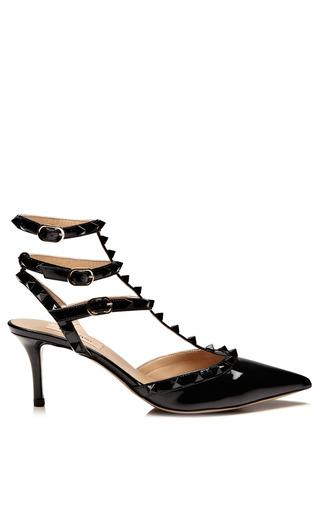 Medium valentino black patent leather rockstud pumps