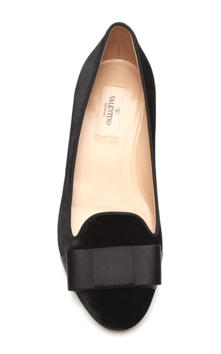 Bow Embellished Velvet Loafer by VALENTINO Now Available on Moda Operandi