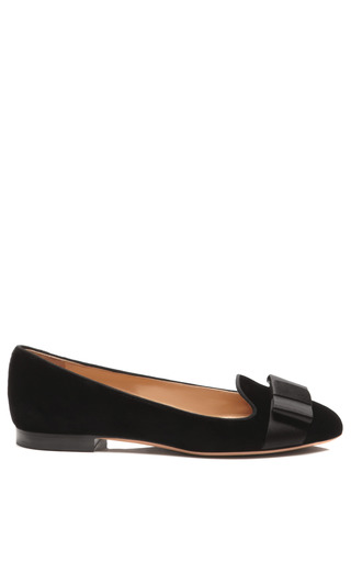 Medium valentino black bow embellished velvet loafer