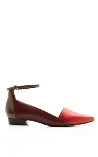 Medium derek lam 10 crosby red avery leather flats with ankle strap