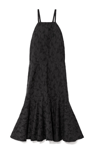 Medium derek lam 10 crosby black cotton blend flared hem jacquard dress