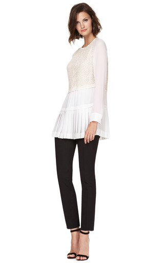 Long Lace Paneled Georgette Blouse With Pleated Hem by DEREK LAM Now Available on Moda Operandi