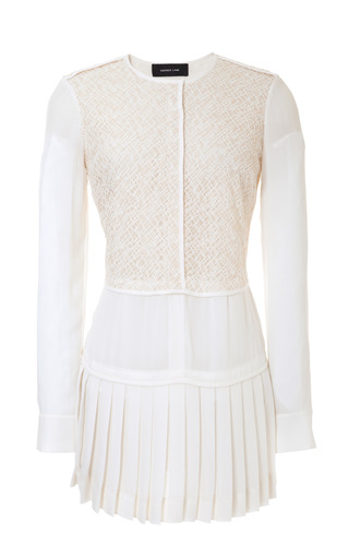Medium derek lam white long lace paneled georgette blouse with pleated hem