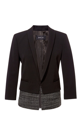 Medium derek lam black cropped gabardine blazer with tweed hem