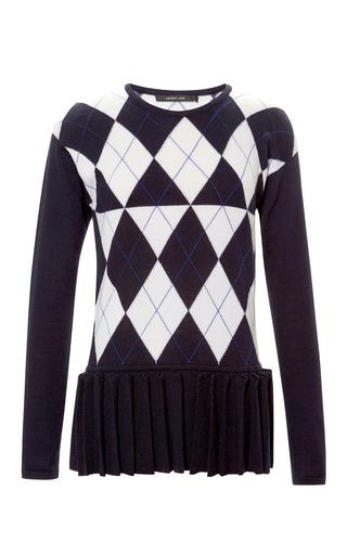 Medium derek lam blue cashmere blend argyle sweater with pleated hem