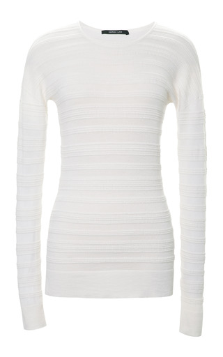 Medium derek lam white cashmere and silk blend ribbed sweater 2