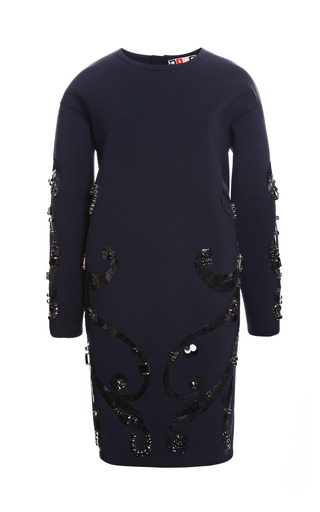 Medium msgm black embellished neoprene dress