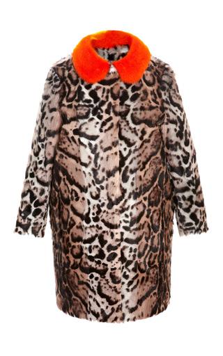 Medium msgm black mink collared goat fur coat