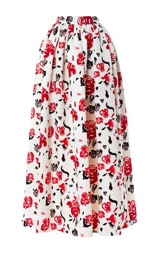 Medium msgm multi satin rose print midi skirt