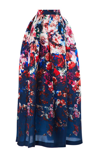 Medium msgm multi floral print gazar midi skirt