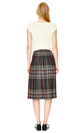 Pleated Wool Blend Plaid Wrap Skirt by MSGM Now Available on Moda Operandi