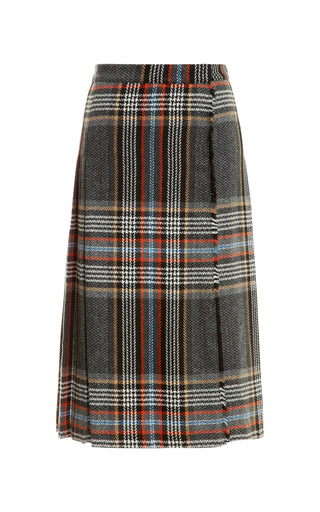 Medium msgm dark grey pleated wool blend plaid wrap skirt