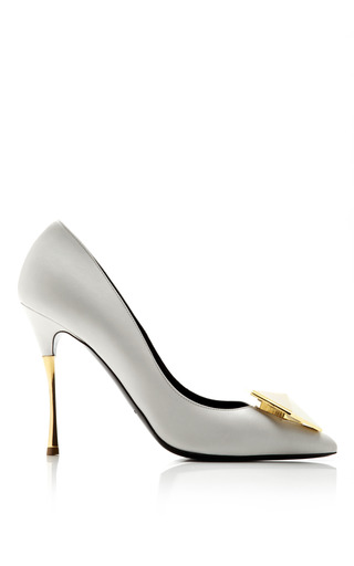 Medium nicholas kirkwood white gilded bijoux leather pump