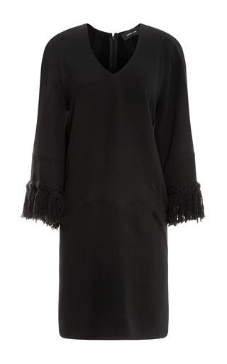 Medium derek lam black crepe cady shift dress with fringed sleeve