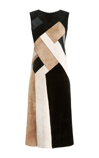 Medium derek lam multi wool dress with suede leather insets