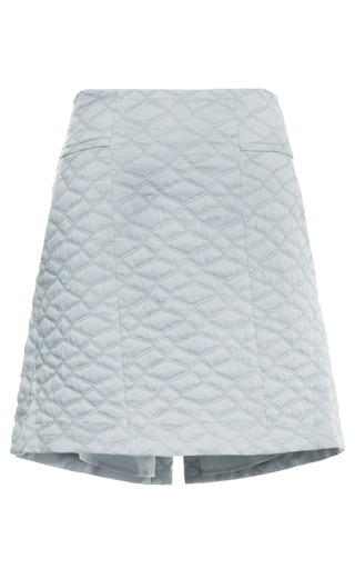 Medium theyskens theory blue fazzuro quilted mini skirt with saddle hem