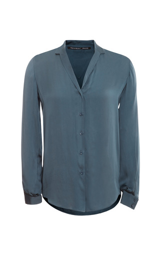 Medium theyskens theory blue brana fayl silk button down blouse