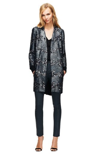 Melan Fenille Sequin Embellished Coat by THEYSKENS' THEORY Now Available on Moda Operandi