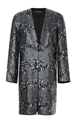 Medium theyskens theory multi melan fenille sequin embellished coat